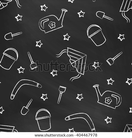 Seamless pattern black chalk board with white children's chalk drawings. Hand-drawn style. Seamless vector wallpaper with the image of kite flying, head, boomerang, star, bucket, shovel, rake - stock vector