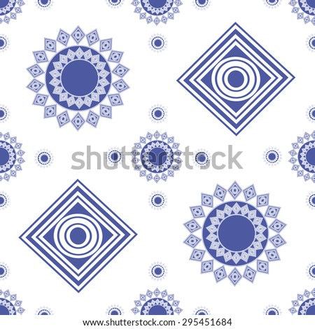 seamless pattern, blue figures, circles, squares - stock vector