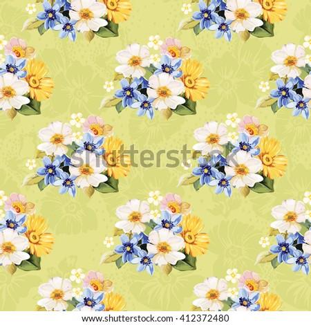 Seamless pattern blue white yellow Vector Illustration EPS8 - stock vector