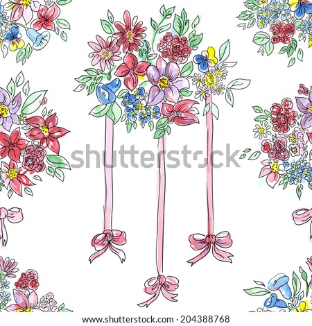 Seamless pattern.Bouquet of colored flowers,  with a red ribbon. Hand drawn - stock vector