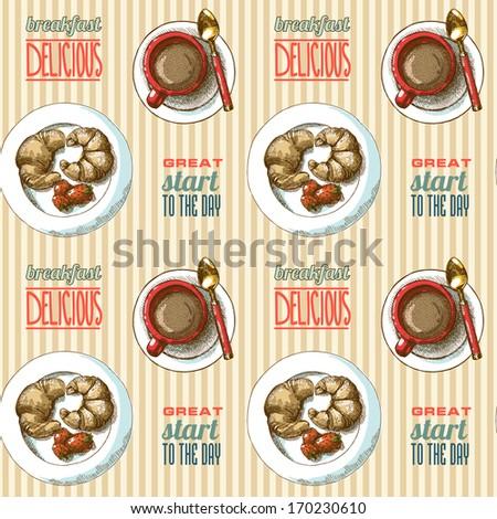 stock vector seamless pattern breakfast 170230610 - Каталог — Фотообои «Еда, фрукты, для кухни»