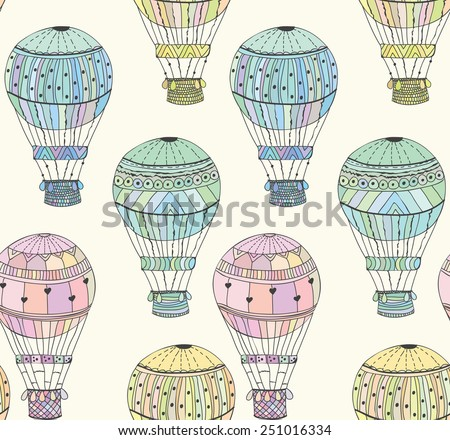 Seamless pattern bright aerostat Vector eps10 - stock vector
