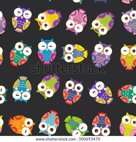 Seamless pattern - bright colorful owls on black background. Vector - stock vector