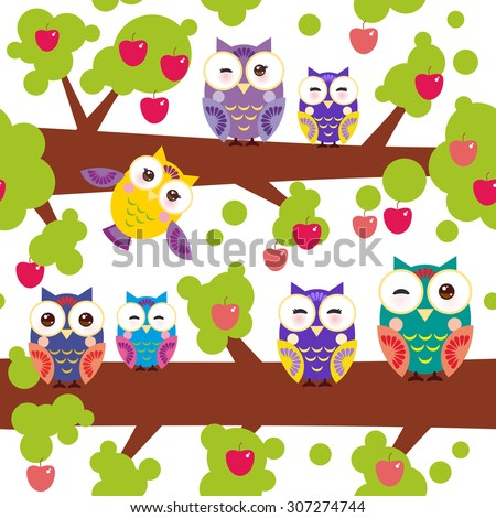 seamless pattern bright colorful owls on the branch of a tree with red apples on white background. Vector - stock vector