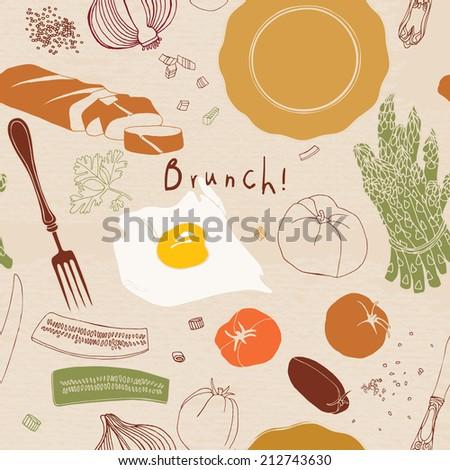 Seamless pattern. Brunch. Food illustration. - stock vector