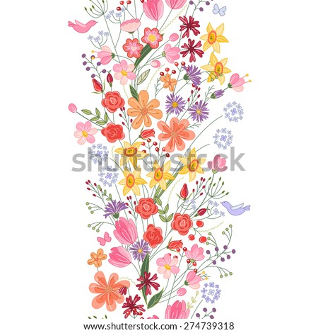 Seamless pattern brush. Bunch of field flowers. Vintage style. - stock vector