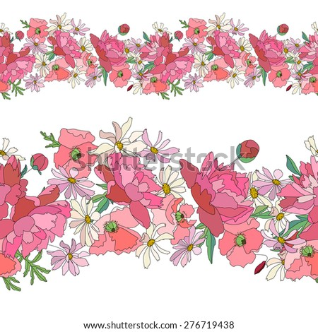 Seamless pattern brush with stylized bright summer flowers. Endless horizontal texture. Pink and red colors. Poppy, daisy and peony. - stock vector