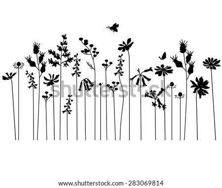Seamless pattern brush with stylized summer flowers. Endless horizontal texture. Contour, outline. Black silhouette. - stock vector