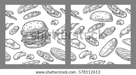 Seamless pattern burger and ingredients include cutlet, tomato, cucumber and salad. Vector vintage black engraving illustration for poster, menu, banner, info graphic. Isolated on white background.