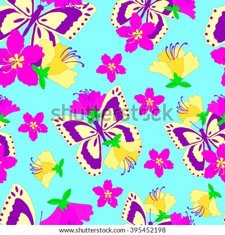 Seamless pattern, butterflies and flowers on a blue background - stock vector