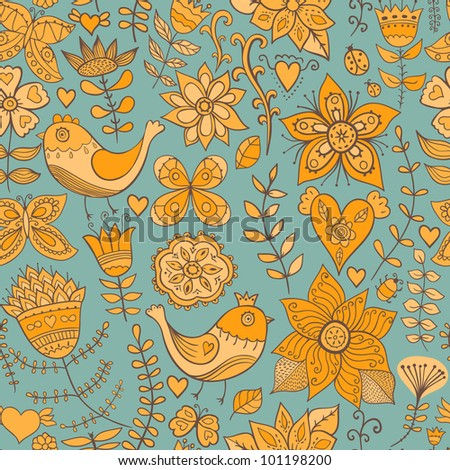 Seamless pattern can be used for wallpaper, pattern fills, web page background,surface textures. Gorgeous seamless floral background - stock vector