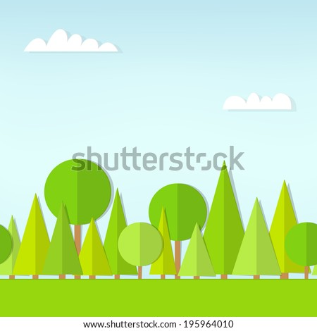 seamless pattern cartoon flat forest - stock vector