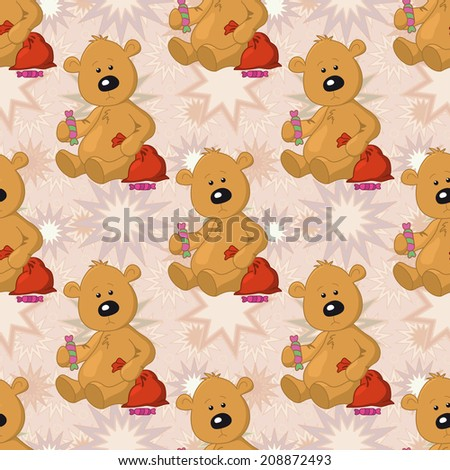 Seamless pattern, cartoon teddy bear sits with a sweet and Christmas bag on abstract stars background. Vector