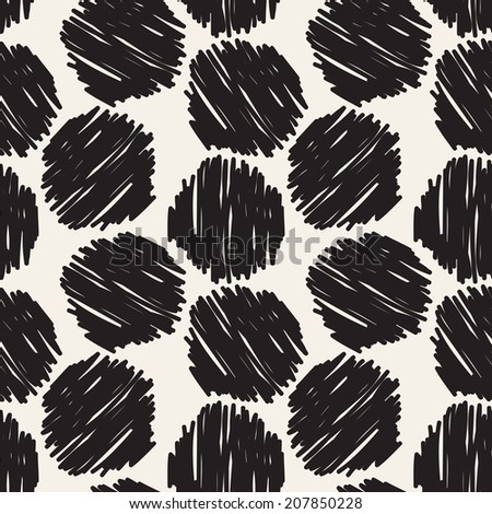 Seamless pattern. Casual texture with hand drawn circles. Stylish doodle - stock vector