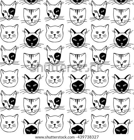 seamless pattern cat breeds illustration british thai domestic japanese bobtail cats