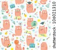 Seamless Pattern - Cats Studing Pink School - stock vector