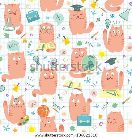 Seamless Pattern - Cats Studing Pink School