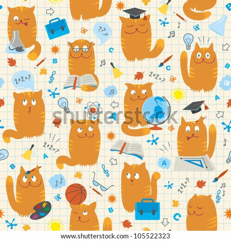 Seamless Pattern - Cats Studing School Subjects