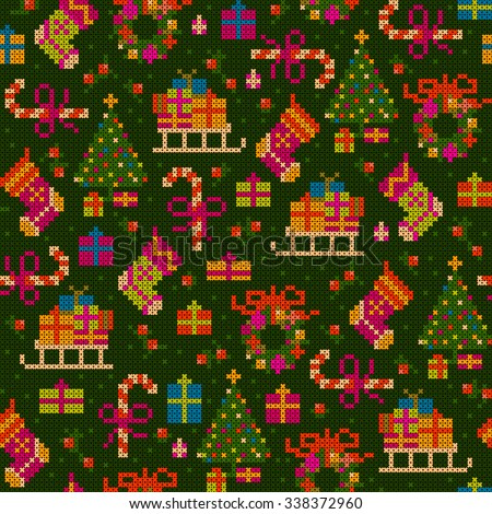 seamless pattern - cheerful detailed christmas cross stitch illustration with sledge, socks, gifts, christmas tree, sweets, wreath - stock vector
