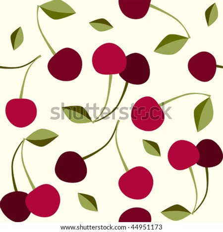 Seamless pattern cherry. Will tile endlessly - stock vector