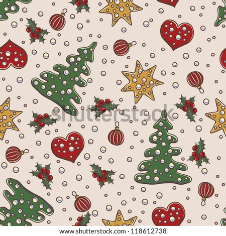 Seamless pattern Christmas and New Year theme with fir tree, mistletoe, gold stars and decorative balls - stock vector