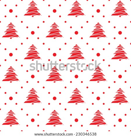 Seamless pattern. Christmas ornament with xmas trees and dotted rhombuses. Holiday background - stock vector