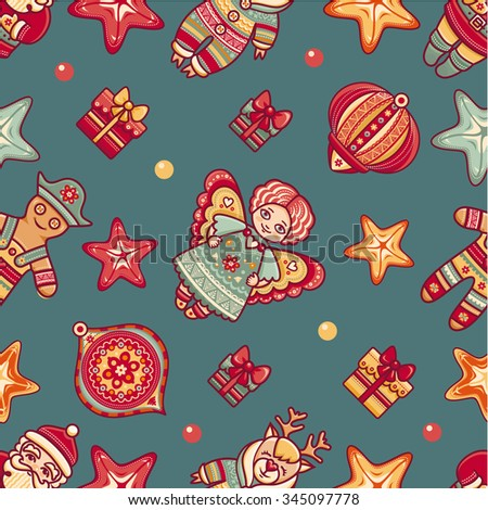Seamless pattern. Christmas style. Reindeer. Santa Claus. Gingerbread Man. Deer. Gift box. Christmas tree. Star. Christmas hand drawn design elements. Best for greeting cards, invitations. - stock vector