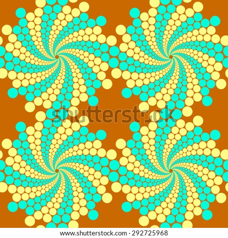 Seamless pattern, circles arrayed in lines, twisted into spirals - stock vector