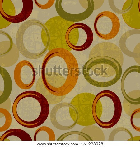 Seamless pattern circles with grunge effect - stock vector