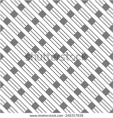 Seamless pattern. Classical geometric texture with small squares, rhombuses, stripes. Diagonal texture. Repeating diamonds. Vector background. Monochrome. Backdrop. Web. Vector illustration - stock vector