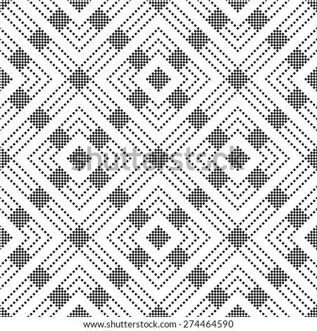 Seamless pattern. Classical geometric texture with small squares, rhombuses, stripes. Repeating rhombuses. Monochrome. Backdrop. Web. Vector element of graphic design for your project - stock vector