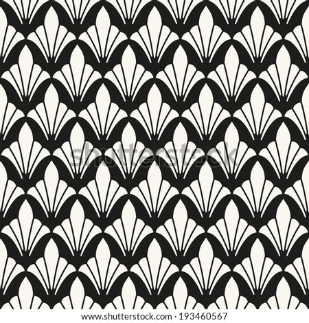 Seamless pattern. Classical ornament. Geometric stylish background. Vector repeating texture. Stylized leaves