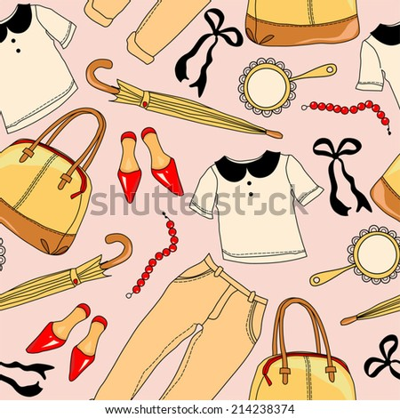 Seamless pattern. Clothing and Accessories.