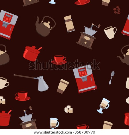 Seamless pattern coffee. Cup, kettle and sugar. Vector illustration