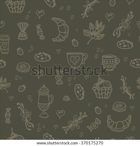 Seamless pattern. Coffee. Desserts. Coffee drinks painted by hand.  Vector illustration