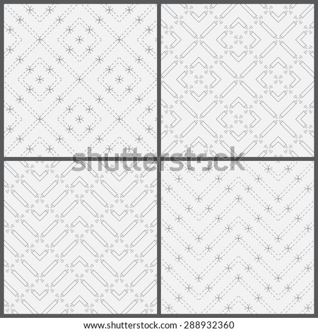 Seamless pattern. Collection of four simple classic textures. Regularly repeating geometric shapes, rhombuses, dashed lines, arcs, circles, zigzags, waves. Monochrome. Backdrop. Web. Vector element