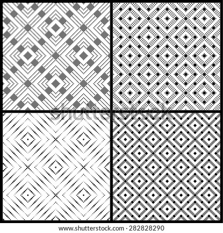 Seamless pattern. Collection of four simple classic textures with small dots, squares. Repeating geometric shapes, rhombuses, diamonds, dots. Monochrome. Backdrop. Web. Vector element