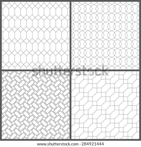 Seamless pattern. Collection of four simple geometrical textures. Repeating geometric shapes, rectangles, diamonds, hexagons, polygons. Monochrome. Backdrop. Web. Vector element of graphic design - stock vector
