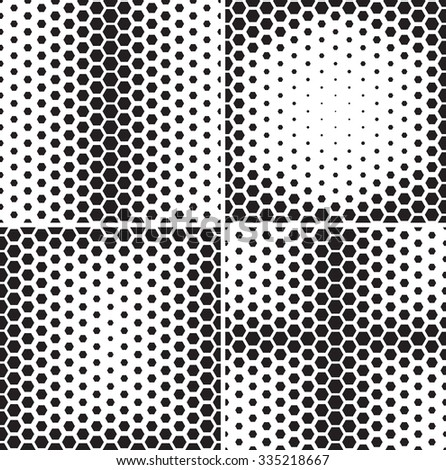 Seamless pattern collection. Set of repeating abstract backgrounds with hexagons arranged as gradient. Stylish black and white and grid textures.
