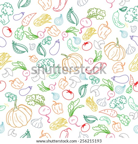 Seamless pattern color vegetables background