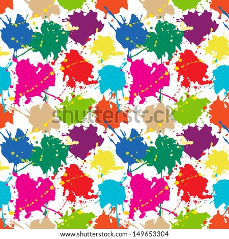 Seamless pattern: colored ink or paint blots - stock vector