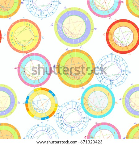 Seamless Pattern Colored Natal Astrological Charts Stock Vector