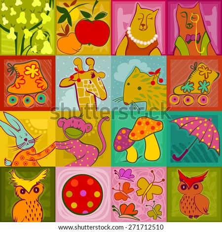 seamless pattern - colorful cute animals, toys and plants on a checked background - stock vector