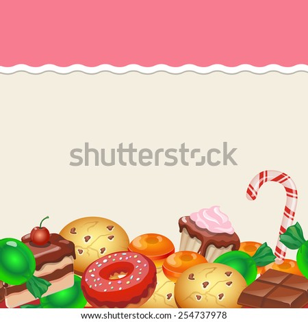Seamless pattern colorful sticker candy, sweets and cakes. Vector - stock vector