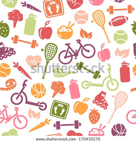 Seamless pattern composed from icons representing healthy lifestyle. - stock vector