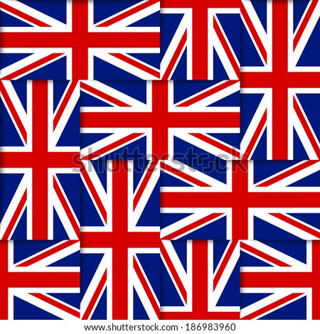 Seamless pattern composed from national flags of the United Kingdom - stock vector