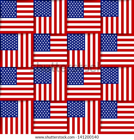 Seamless pattern composed from national flags of the United States of America