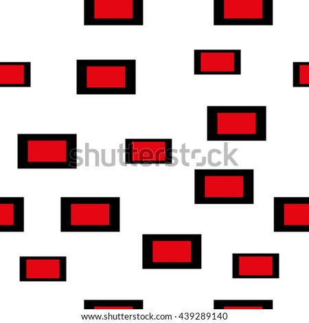 Seamless pattern composed of black and red rectangles on a white background