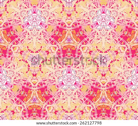 Seamless pattern composed of color abstract elements located on a color background. Useful as design element for texture, pattern and artistic compositions. Vector illustration. - stock vector