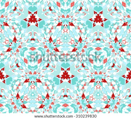Seamless pattern composed of color abstract elements located on white. Useful as design element for texture, pattern and artistic compositions. Vector illustration. - stock vector